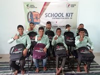 School bag distribution at Almanar Scholar School, Rargaon, Jharkhand